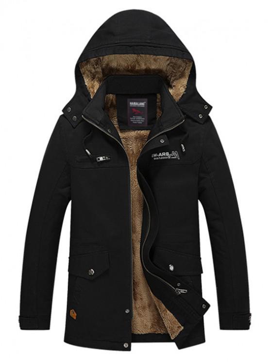 women Soft Faux Fur Lined Thicken Jacket - BLACK L