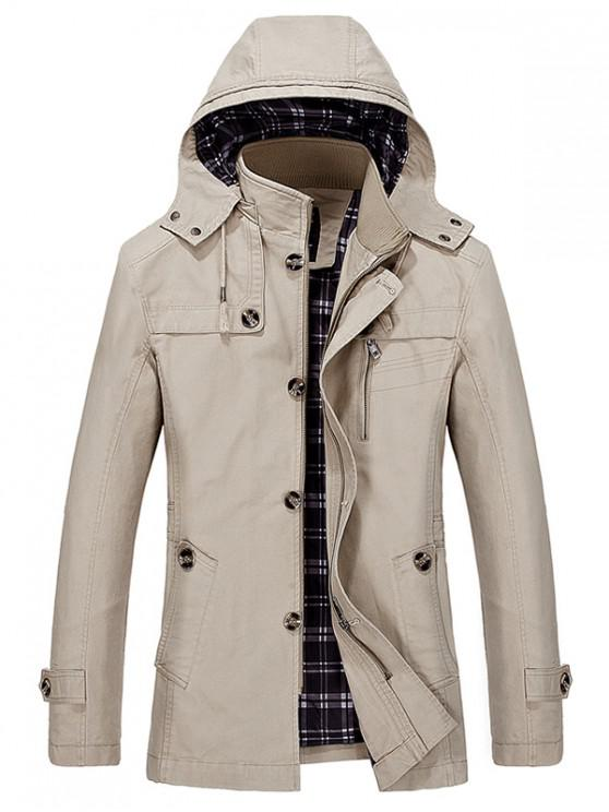 fashion Buttons Zip Hooded Trench Coat - LIGHT KHAKI M