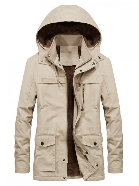 womens Faux Fur Lined Solid Pocket Jacket - KHAKI L