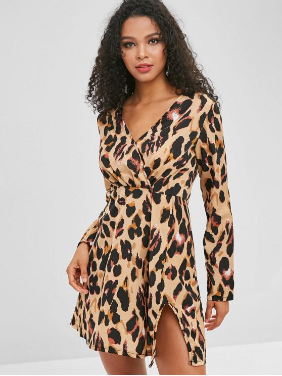Slit Leopard Dress   Leopard M by Zaful