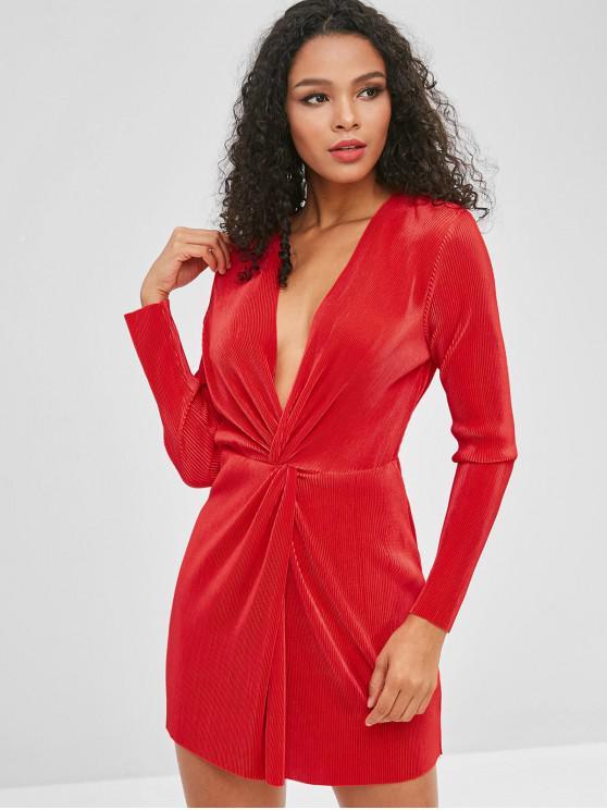 فستان بياقة عميقة - أحمر L