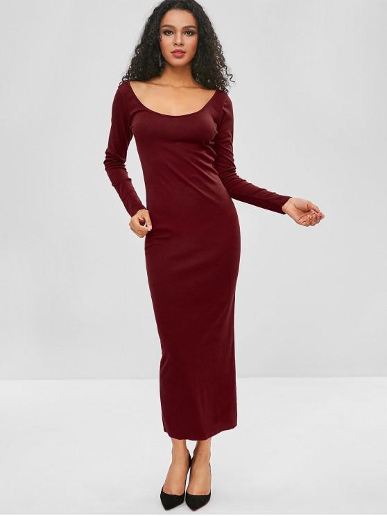 Robe fourreau côtelée à dos ouvert - Rouge Vineux XL