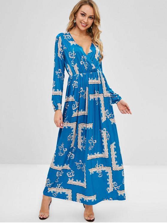 Vestido maxi barroco surplice - Azul L