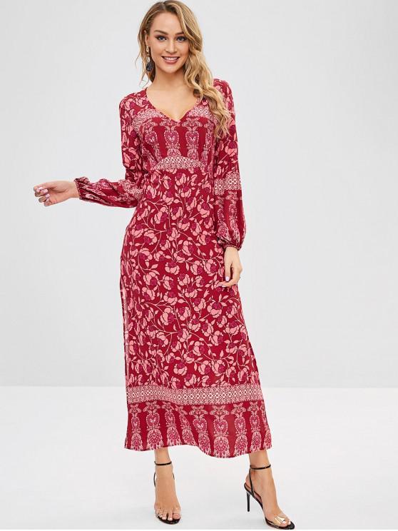 ZAFUL عارية الذراعين يغرق الأزهار فستان ماكسي الشق - أحمر M