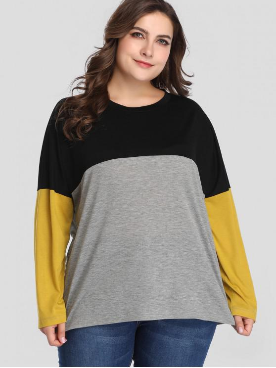 Camiseta de manga larga color block plus size - Multicolor 2X