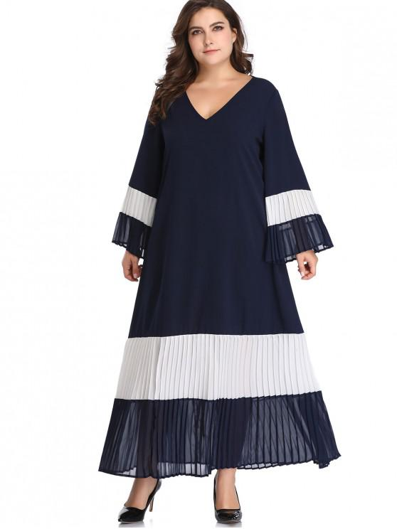 outfit Flare Sleeve Color Block Plus Size Dress - MIDNIGHT BLUE 3X