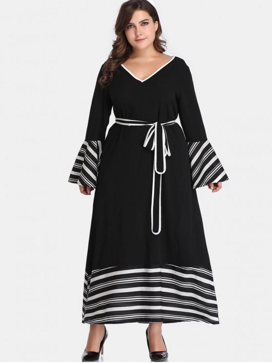 Rayas con cinturón vestido de talla grande - Negro 3X