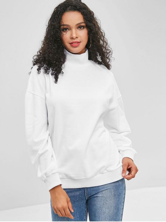 shop Ribbed Trim Mock Neck Sweatshirt - WHITE S