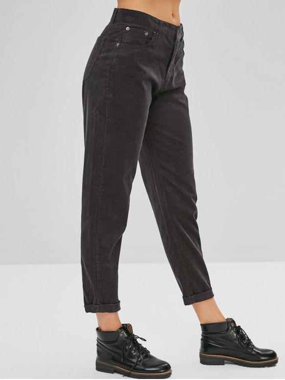 Cuffed Corduroy Pants   Dark Slate Grey S by Zaful