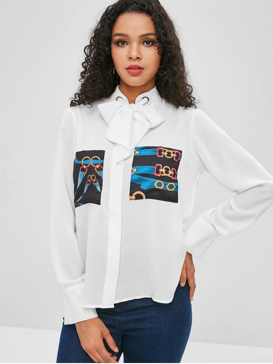 T-shirt Chaîne Imprimée avec Nœud Papillon avec Poche - Blanc M