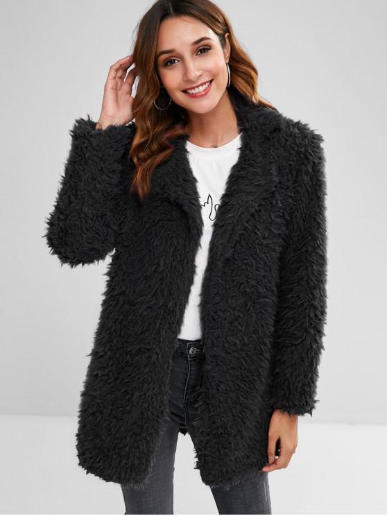 hot Straight Fluffy Tunic Coat - BLACK M