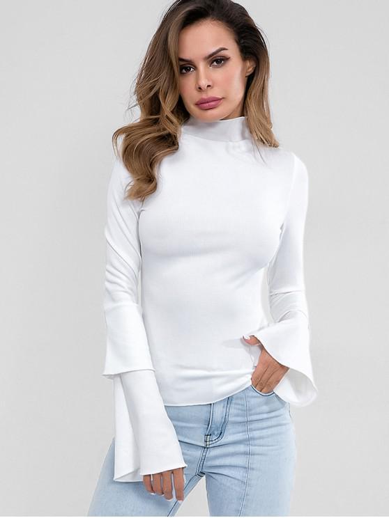 Top de mangas em camadas de pescoço de malha alta - Branco M
