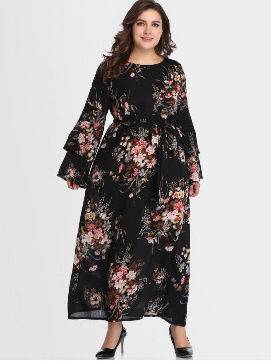 30% OFF] 2019 Belted Floral Flare Sleeve Plus Size Dress In BLACK ...