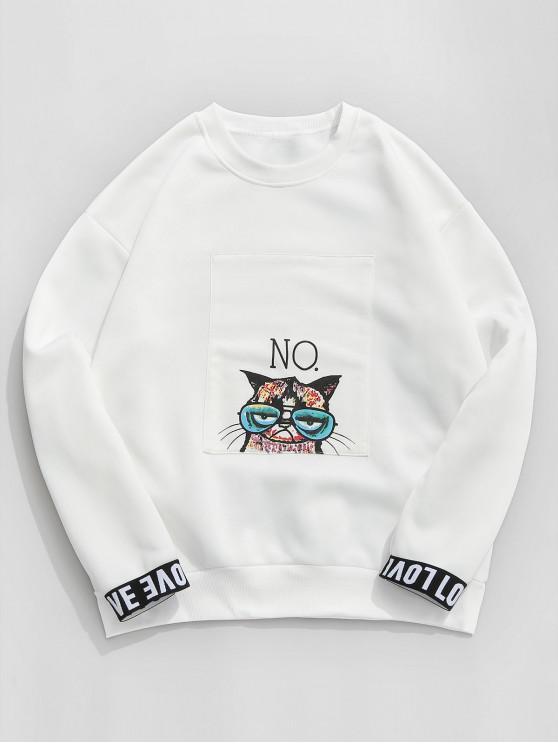 fashion ZAFUL Love Cat Graphic Fleece Lined Sweatshirt - WHITE M