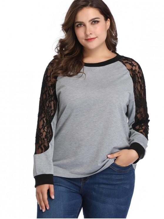 6a59855aa77 2019 Raglan Sleeve Lace Panel Plus Size Sweatshirt In GRAY 3X
