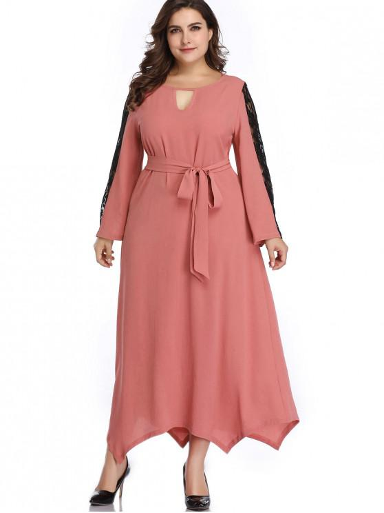 Keyhole Lace Panel Plus Size Vestido - Rosa 3X