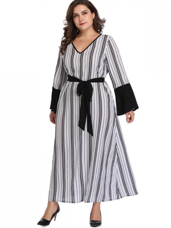 Flare Sleeve Stripes Plus Size Vestido - Branco 5X