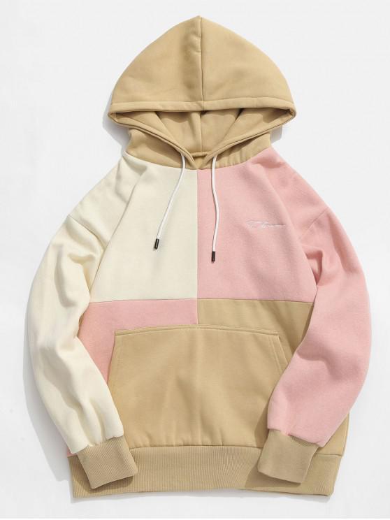 hot ZAFUL Letter Embroidery Fleece Lined Colorblock Hoodie - MULTI L