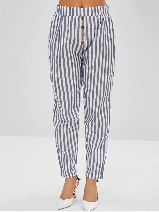 women Buttoned Striped Pencil Chino Pants - SLATE BLUE M