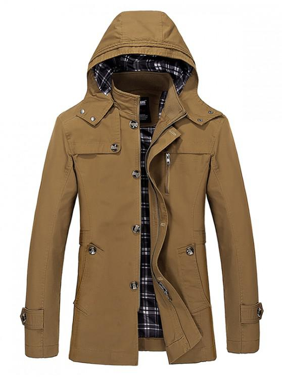 shop Buttons Zip Hooded Trench Coat - DARK KHAKI L
