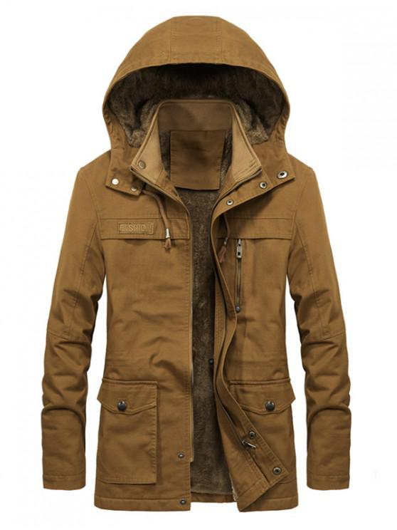 unique Faux Fur Lined Solid Pocket Jacket - SAND S