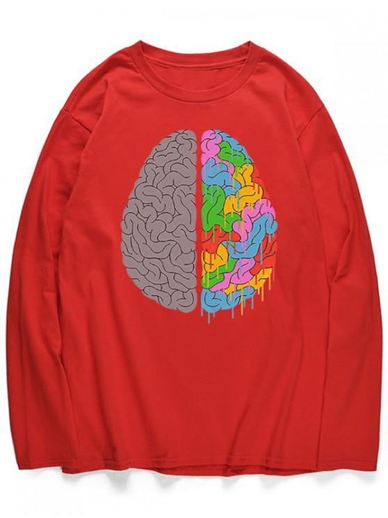 ladies Head Braid Print Long Sleeves Shirt - LAVA RED L