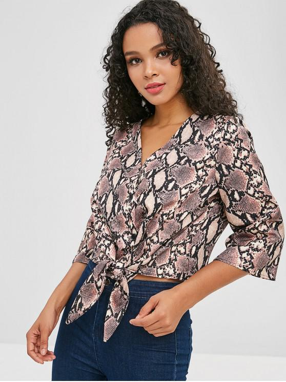 new Snake Print Tie Double Breasted Top - MULTI M