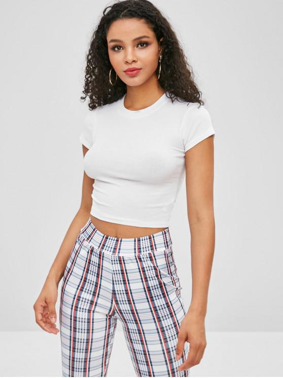 chic Short Sleeve Cropped Plain Top - WHITE S