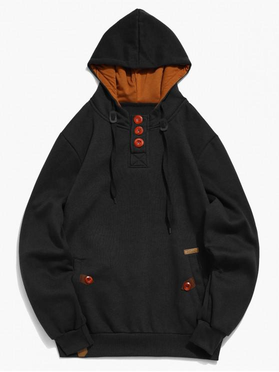 fashion Button Embellish Drawstring Pullover Hoodie - BLACK S