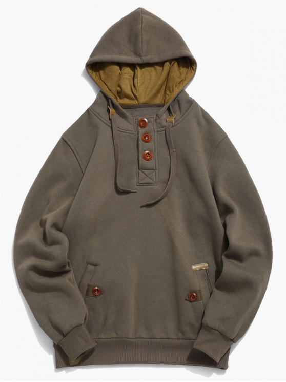 fancy Button Embellish Drawstring Pullover Hoodie - COFFEE XS