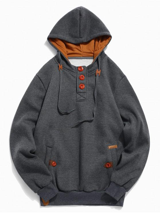affordable Button Embellish Drawstring Pullover Hoodie - GRAY XS
