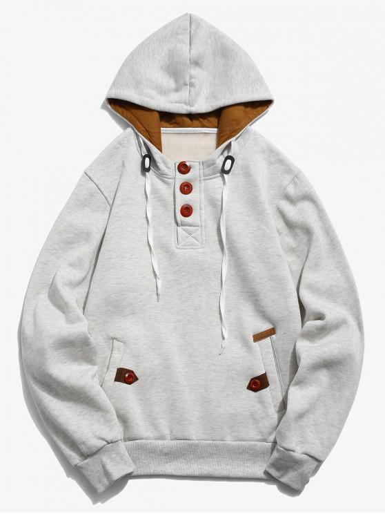 women Button Embellish Drawstring Pullover Hoodie - PLATINUM XS