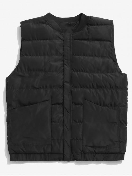 fancy Stand Collar Zip Fly Padded Vest - BLACK S