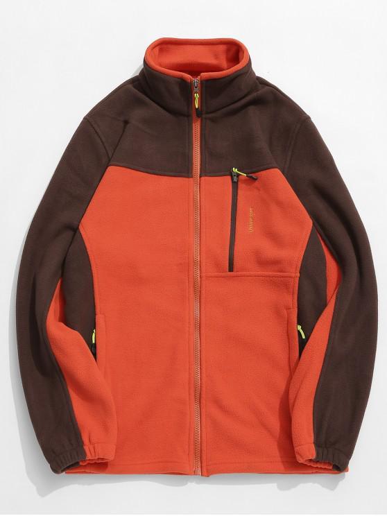 best Zip Fly Contract Color Fleece Jacket - HALLOWEEN ORANGE L