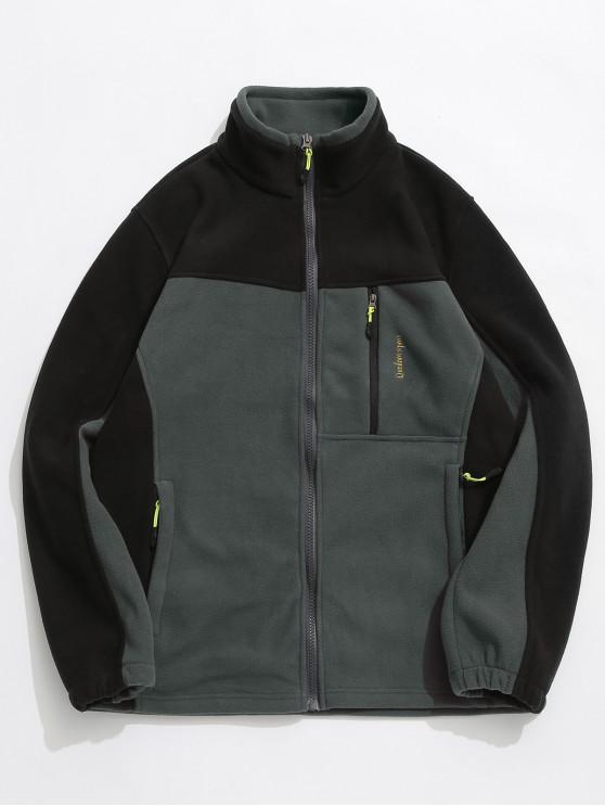 online Zip Fly Contract Color Fleece Jacket - GRAY XS
