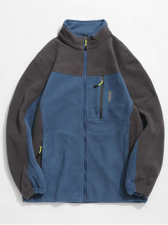 latest Zip Fly Contract Color Fleece Jacket - PEACOCK BLUE L