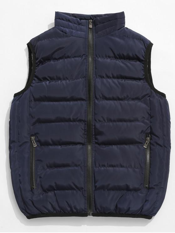 best Solid Color Zip Pocket Padded Vest - DARK SLATE BLUE XS