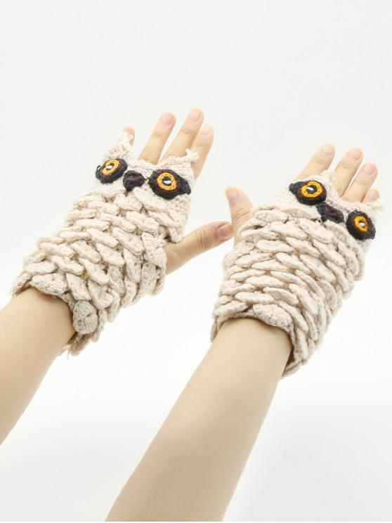 Winter Owl Fingerless Gloves - أسمر