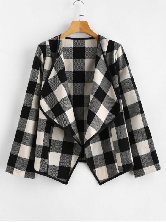 lady Plaid Draped Front Coat - MULTI S