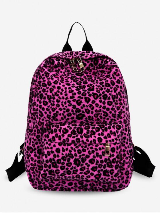 sale Leopard Pattern Zipper School Backpack - MEDIUM VIOLET RED