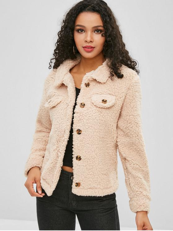 lady Fluffy Button Up Teddy Coat - APRICOT S