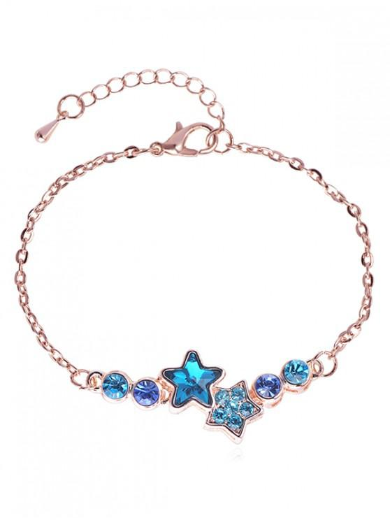 Rhinestoned Star Pattern Chain Bracelet - oro rosa