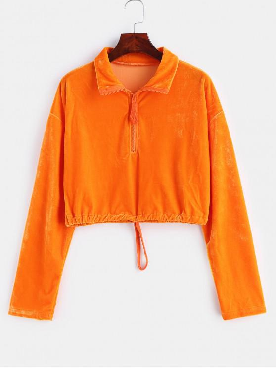 unique Velvet Zipped Cropped Pullover Sweatshirt - PAPAYA ORANGE M