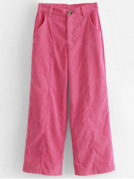 sale Wide Leg High Waisted Corduroy Pants - HOT PINK S