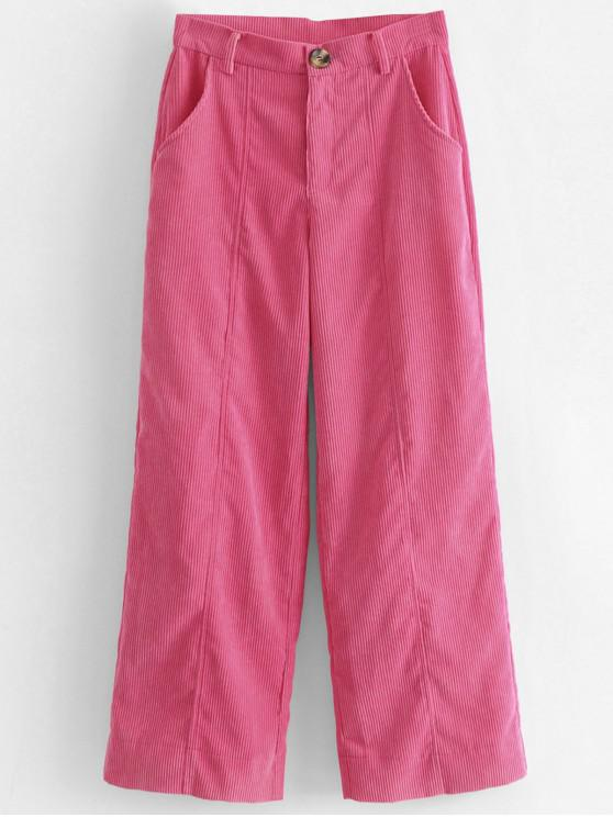 lady Wide Leg High Waisted Corduroy Pants - HOT PINK L