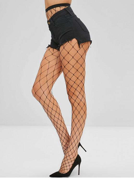 outfit High Waisted Plain Fishnet Tights - BLACK ONE SIZE