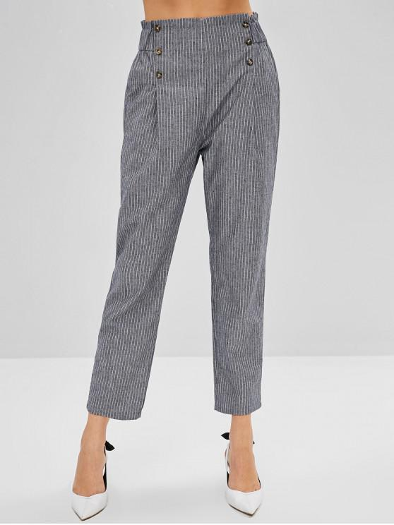 Sale Striped High Waisted Pencil Pants   Battleship Gray S by Zaful