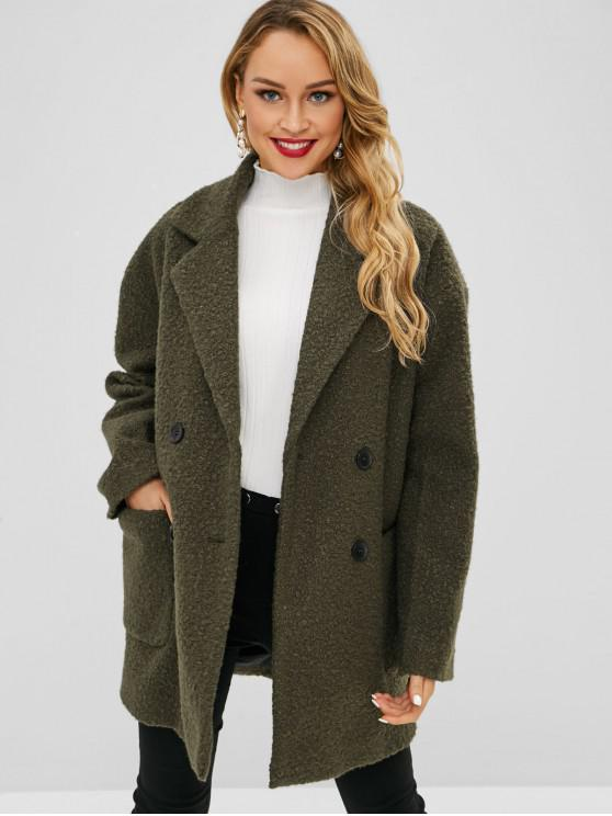 shop Lapel Wool Blend Peacoat - ARMY GREEN L