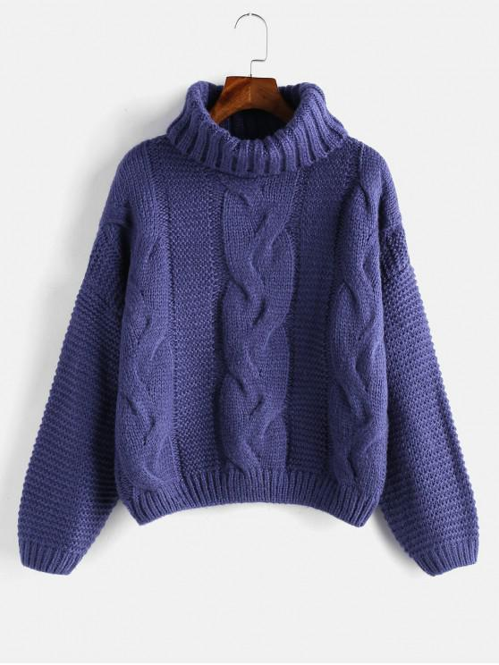 hot Drop Shoulder Cable Knit Turtleneck Chunky Sweater - MIDNIGHT BLUE ONE SIZE