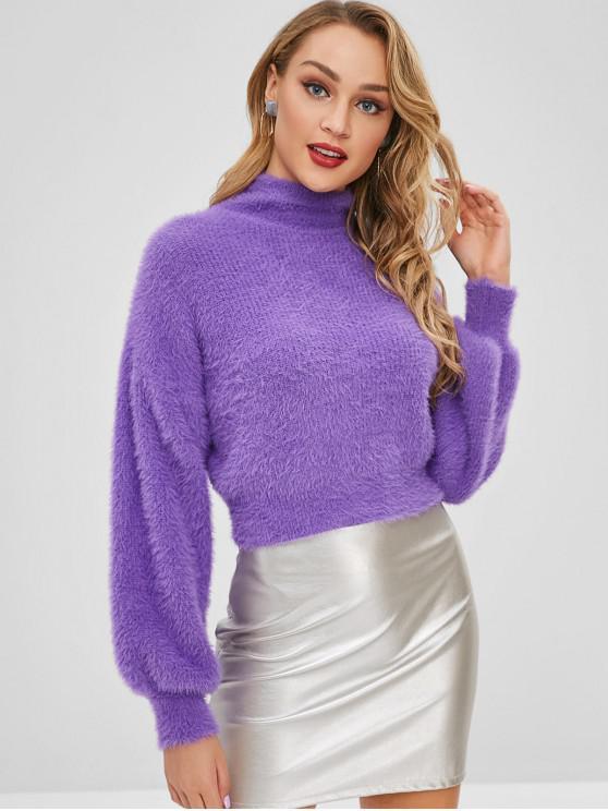 Fuzzy Knit Drop Schulter Pullover - Lila Eine Größe
